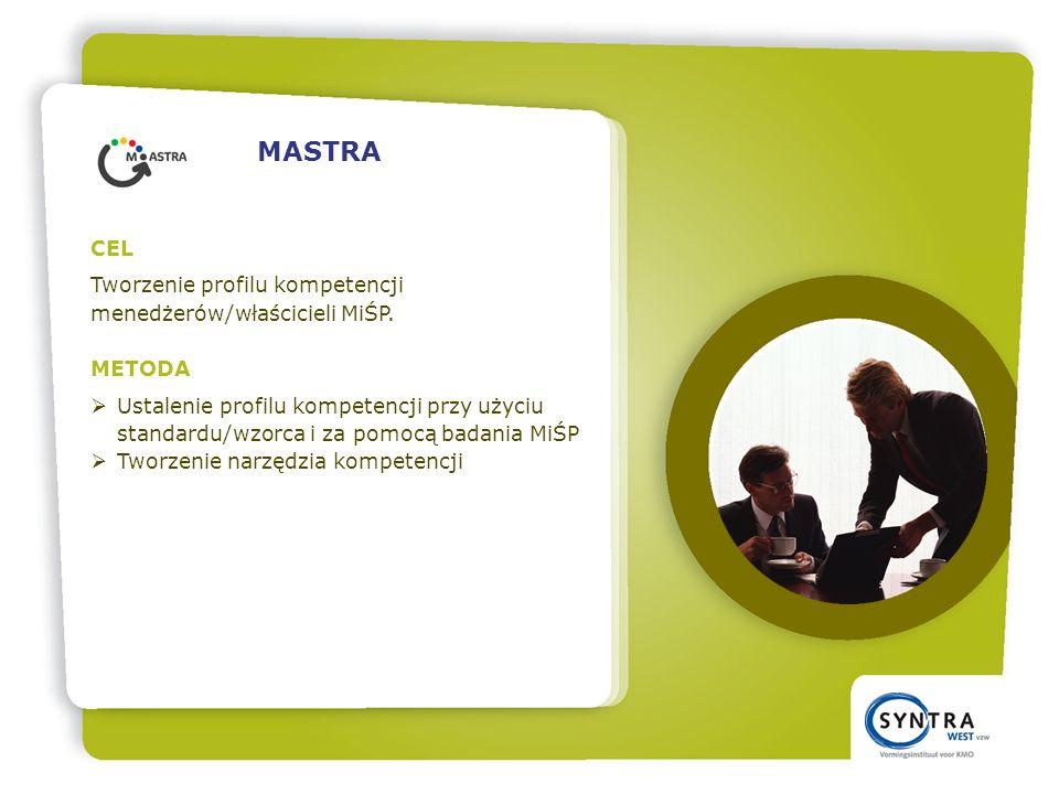 CEL Tworzenie profilu kompetencji menedżerów/właścicieli MiŚP.