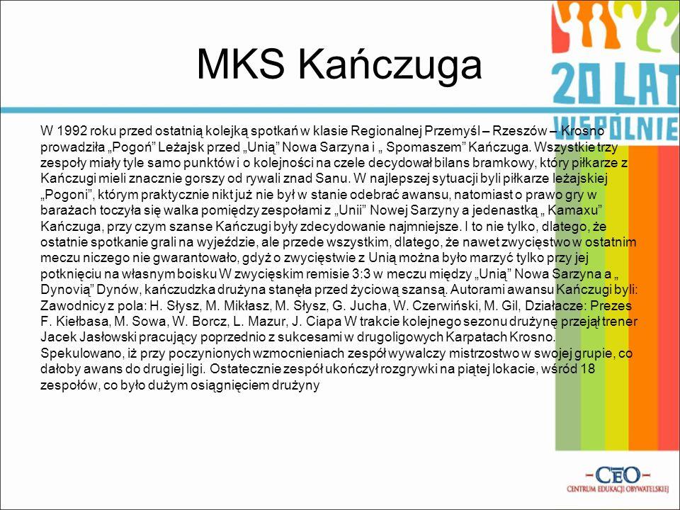 Historia klubu MKS Kańczuga W 1977 roku w Urzędzie Miasta w Kańczudze odbyło się spotkanie na wniosek członka zarządu LZS Kańczuga Tadeusza Bułasia, w
