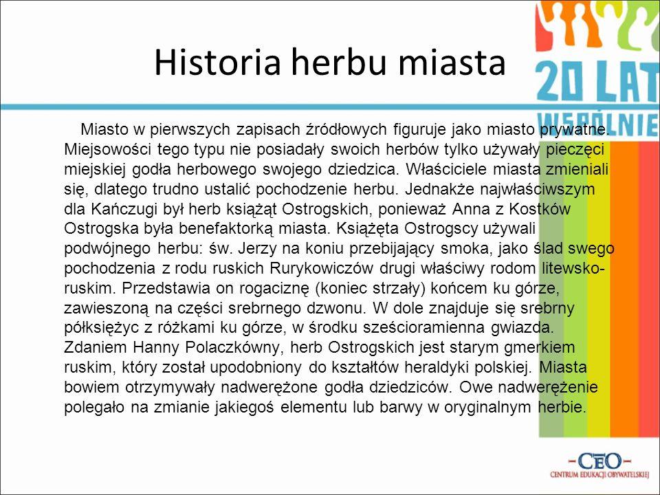 Historia herbu miasta Miasto w pierwszych zapisach źródłowych figuruje jako miasto prywatne.