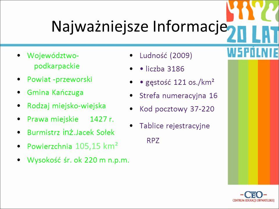 Najważniejsze Informacje Województwo- podkarpackie Powiat -przeworski Gmina Kańczuga Rodzaj miejsko-wiejska Prawa miejskie 1427 r.