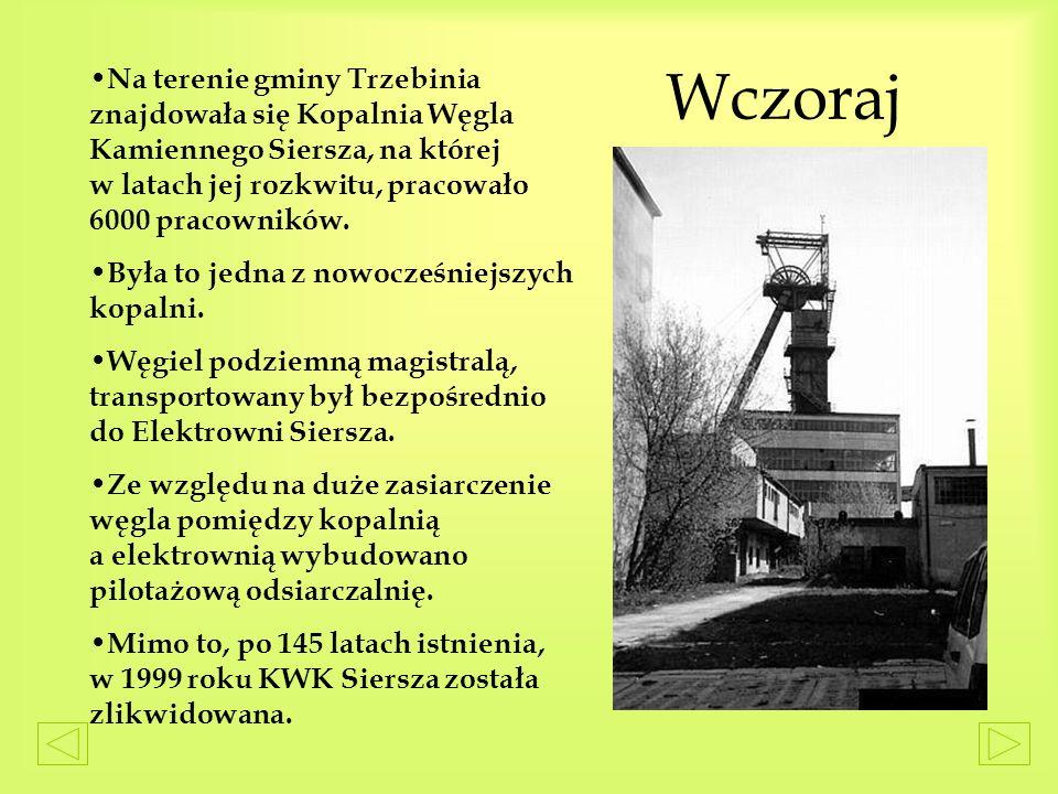 Wczoraj N a terenie gminy Trzebinia znajdowała się Kopalnia Węgla Kamiennego Siersza, na której w latach jej rozkwitu, pracowało 6000 pracowników.