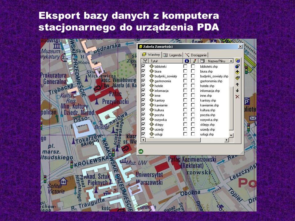 Eksport bazy danych z komputera stacjonarnego do urządzenia PDA