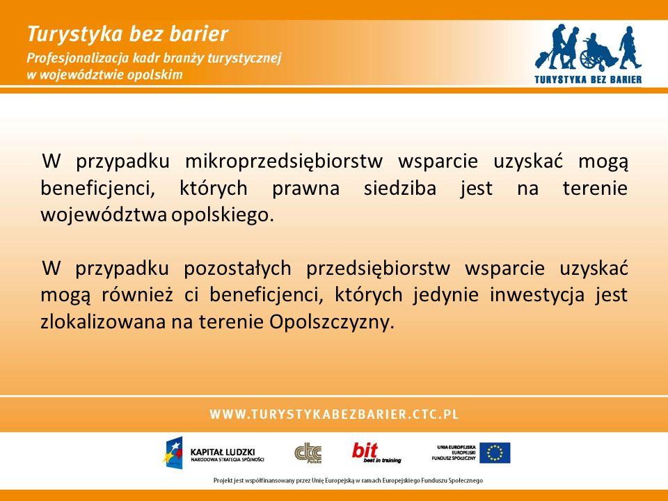 W przypadku mikroprzedsiębiorstw wsparcie uzyskać mogą beneficjenci, których prawna siedziba jest na terenie województwa opolskiego. W przypadku pozos