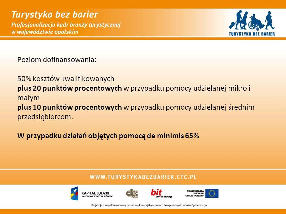 Poziom dofinansowania: 50% kosztów kwalifikowanych plus 20 punktów procentowych w przypadku pomocy udzielanej mikro i małym plus 10 punktów procentowych w przypadku pomocy udzielanej średnim przedsiębiorcom.
