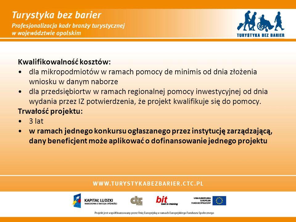 Kwalifikowalność kosztów: dla mikropodmiotów w ramach pomocy de minimis od dnia złożenia wniosku w danym naborze dla przedsiębiortw w ramach regionaln
