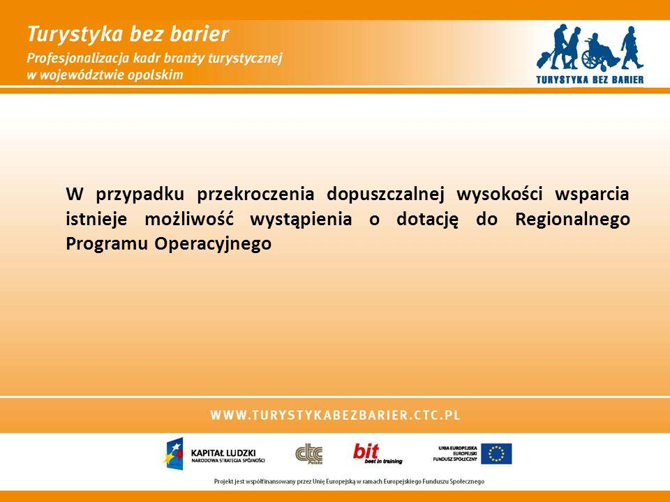 W przypadku przekroczenia dopuszczalnej wysokości wsparcia istnieje możliwość wystąpienia o dotację do Regionalnego Programu Operacyjnego