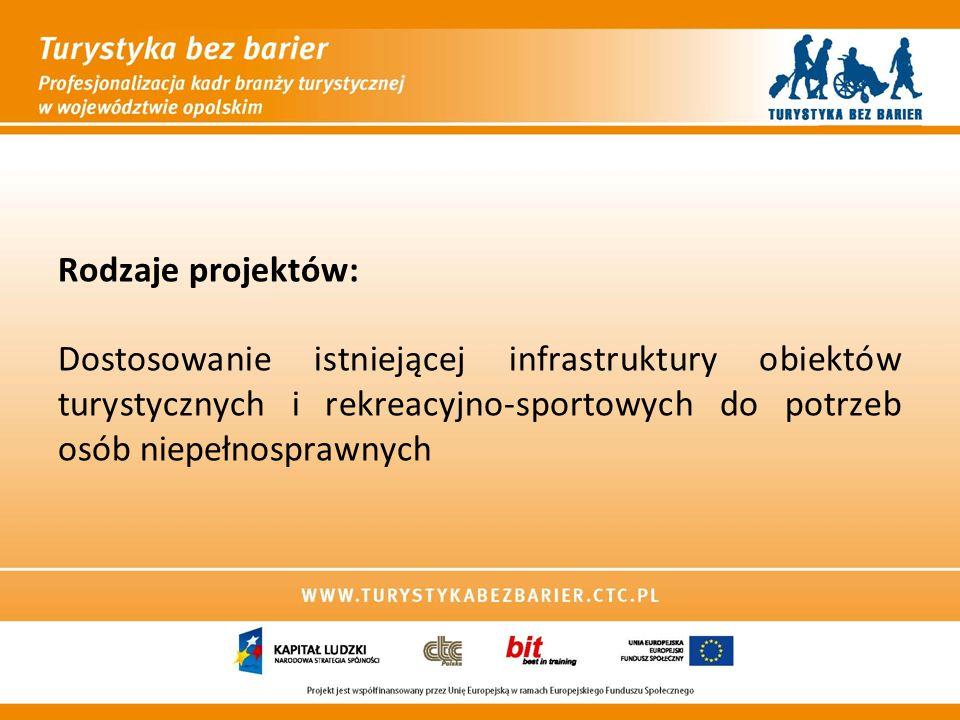 Rodzaje projektów: Dostosowanie istniejącej infrastruktury obiektów turystycznych i rekreacyjno-sportowych do potrzeb osób niepełnosprawnych