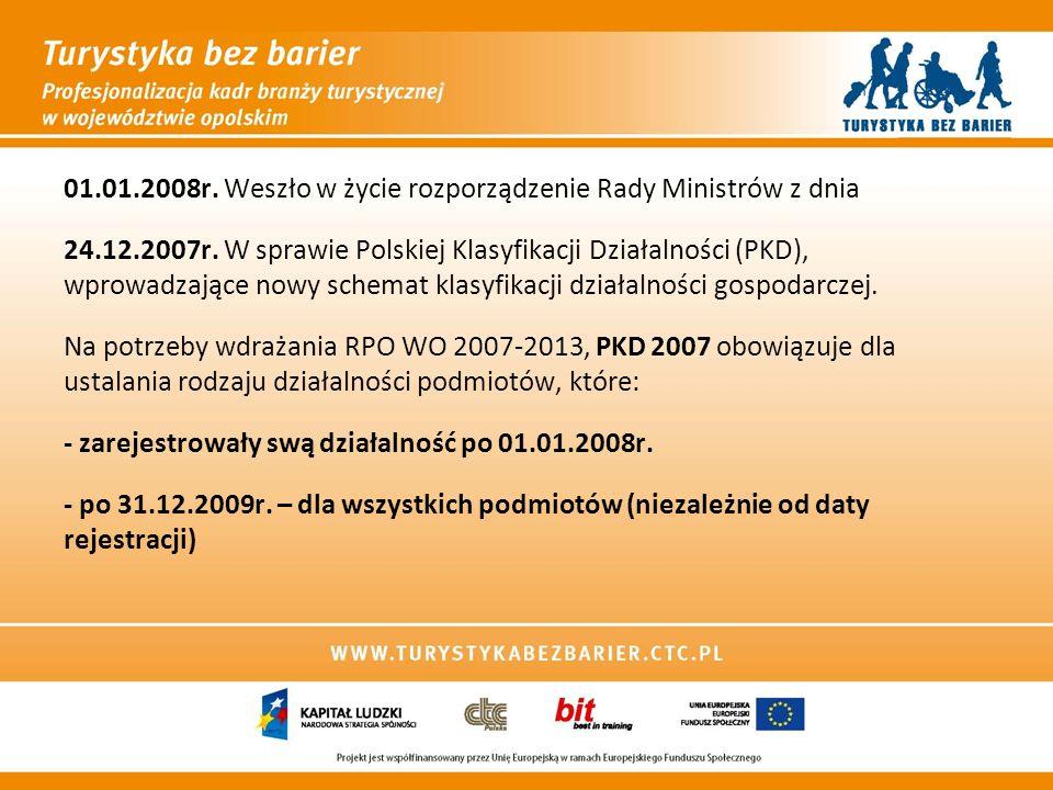 01.01.2008r. Weszło w życie rozporządzenie Rady Ministrów z dnia 24.12.2007r. W sprawie Polskiej Klasyfikacji Działalności (PKD), wprowadzające nowy s