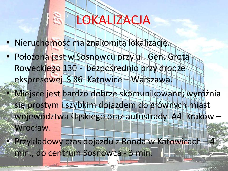 LOKALIZACJA Nieruchomość ma znakomitą lokalizację. Położona jest w Sosnowcu przy ul. Gen. Grota - Roweckiego 130 - bezpośrednio przy drodze ekspresowe