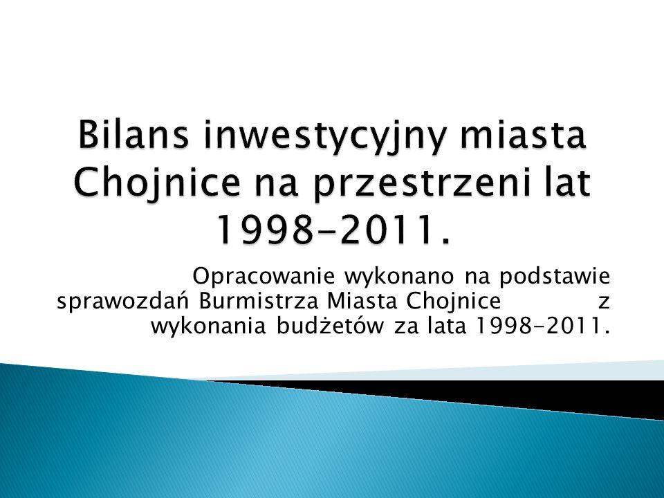Opracowanie wykonano na podstawie sprawozdań Burmistrza Miasta Chojnice z wykonania budżetów za lata 1998-2011.