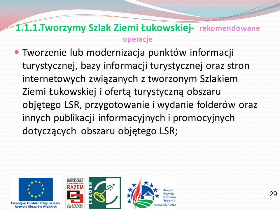 29 1.1.1.Tworzymy Szlak Ziemi Łukowskiej- rekomendowane operacje Tworzenie lub modernizacja punktów informacji turystycznej, bazy informacji turystycz