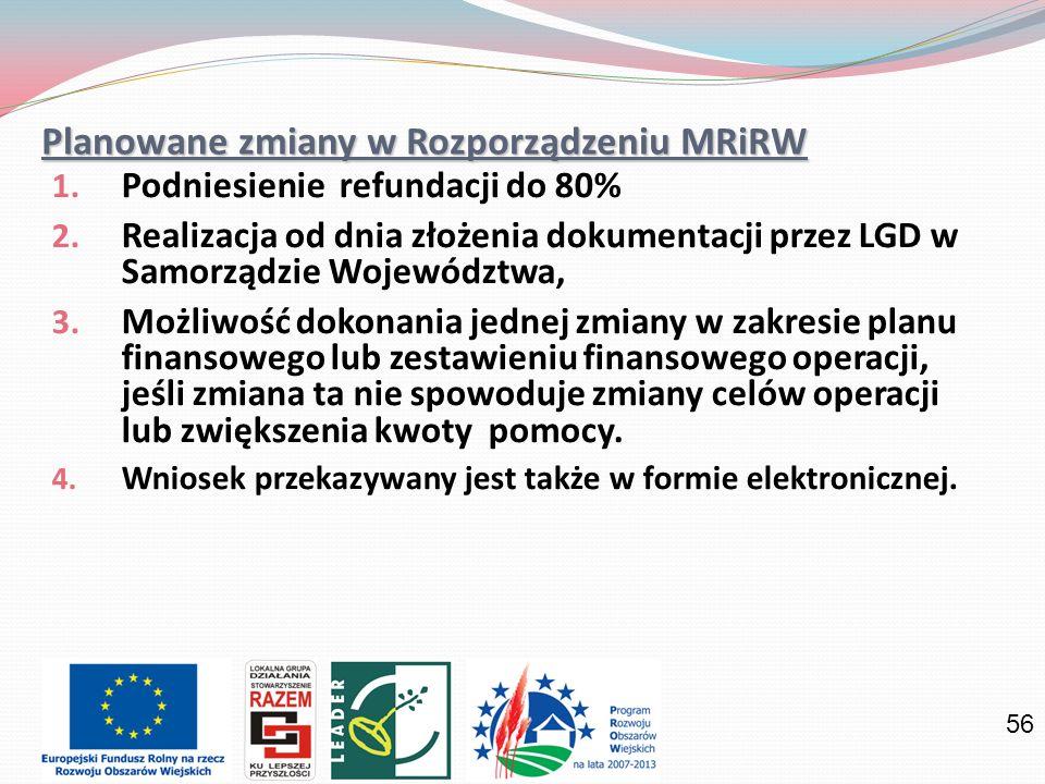 56 Planowane zmiany w Rozporządzeniu MRiRW 1. Podniesienie refundacji do 80% 2. Realizacja od dnia złożenia dokumentacji przez LGD w Samorządzie Wojew