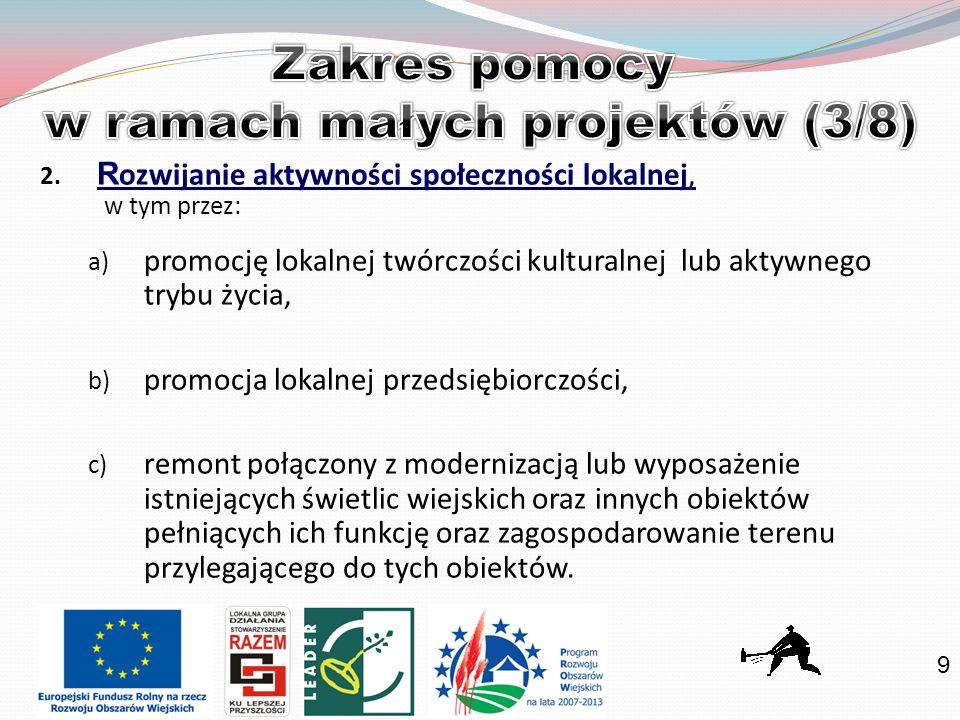 9 2. R ozwijanie aktywności społeczności lokalnej, w tym przez: a) promocję lokalnej twórczości kulturalnej lub aktywnego trybu życia, b) promocja lok