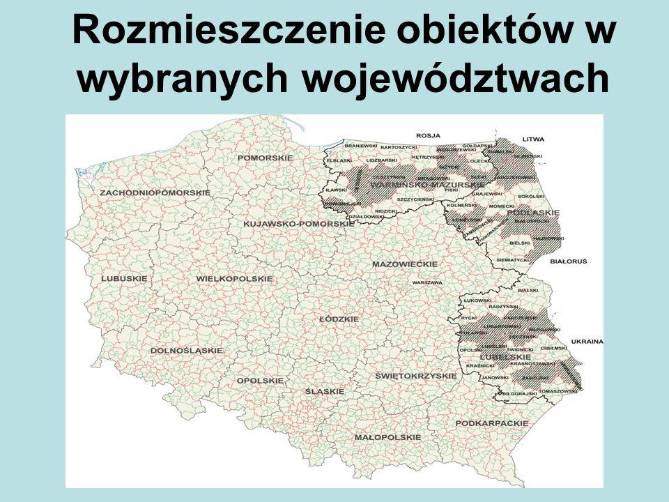 Rozmieszczenie obiektów w wybranych województwach