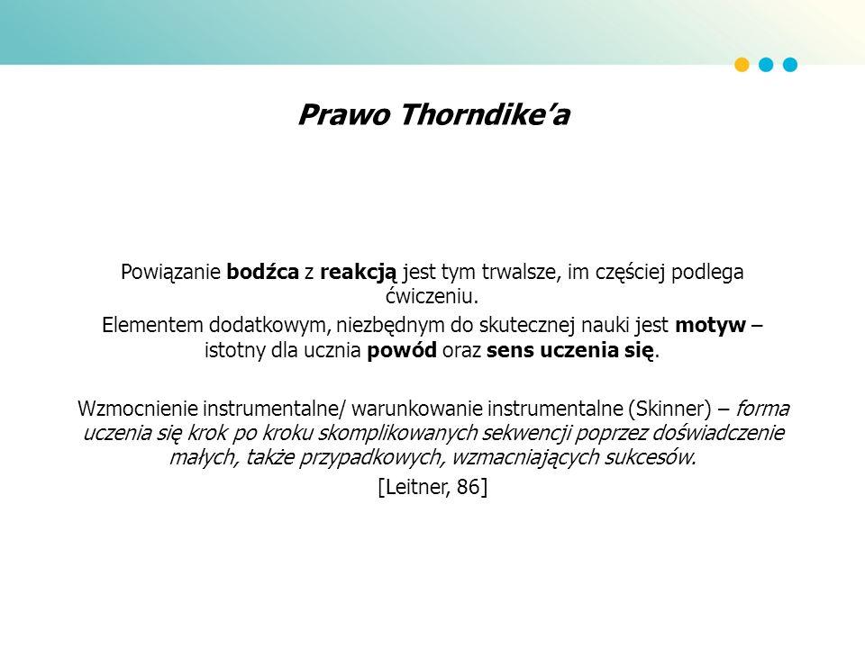 Prawo Thorndikea Powiązanie bodźca z reakcją jest tym trwalsze, im częściej podlega ćwiczeniu. Elementem dodatkowym, niezbędnym do skutecznej nauki je