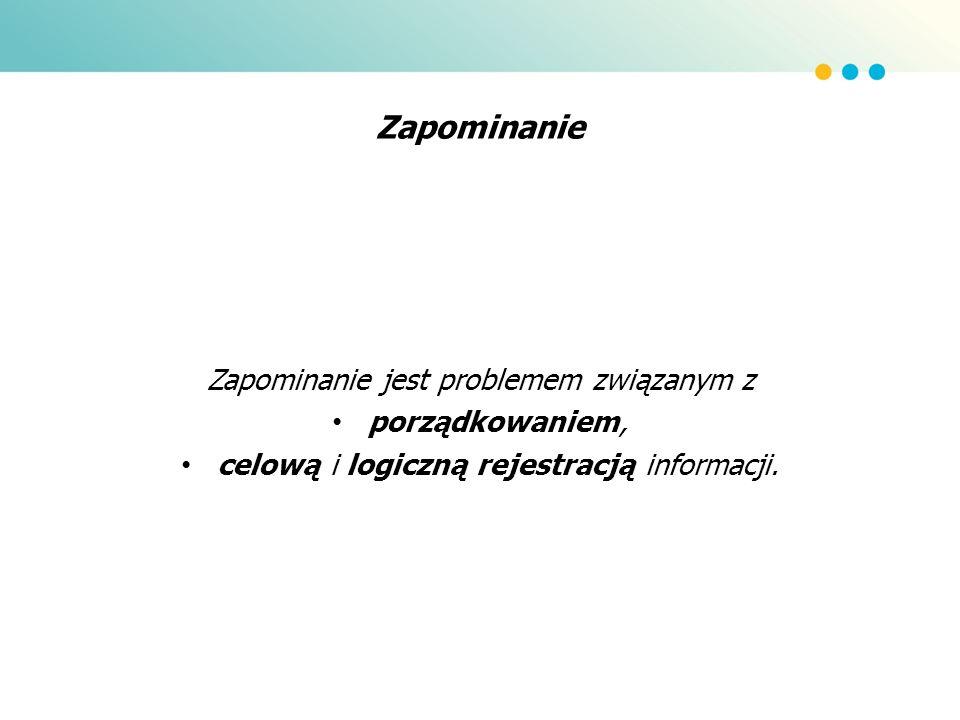 Zapominanie Zapominanie jest problemem związanym z porządkowaniem, celową i logiczną rejestracją informacji.