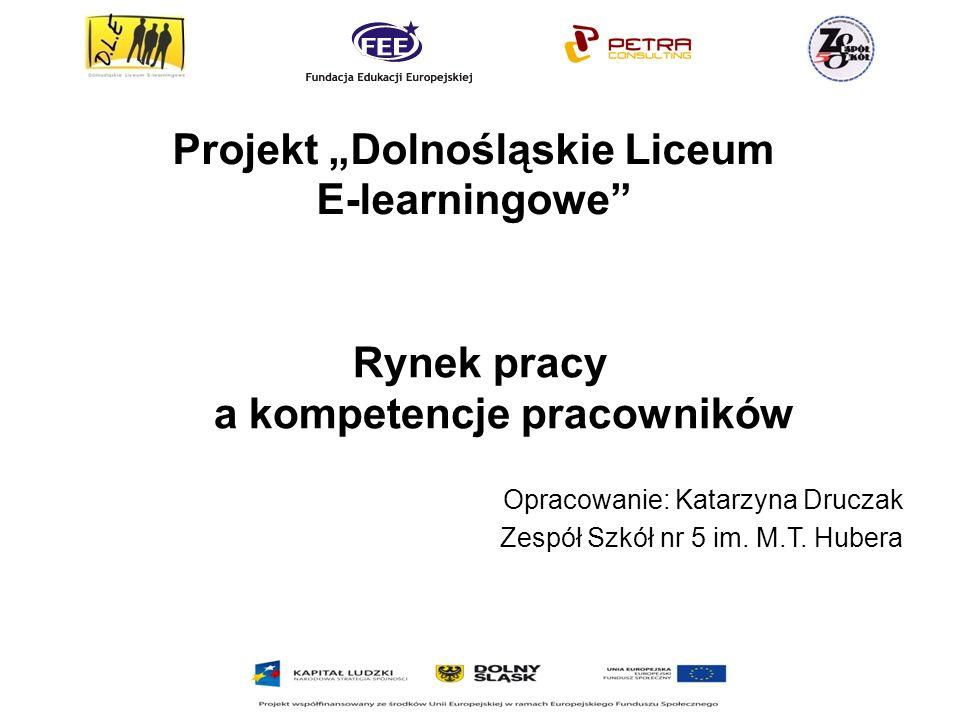 Projekt Dolnośląskie Liceum E-learningowe Rynek pracy a kompetencje pracowników Opracowanie: Katarzyna Druczak Zespół Szkół nr 5 im.