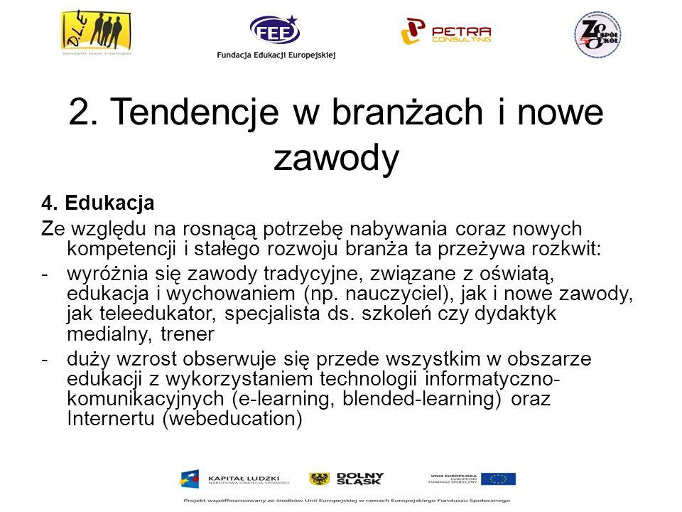 2.Tendencje w branżach i nowe zawody 4.