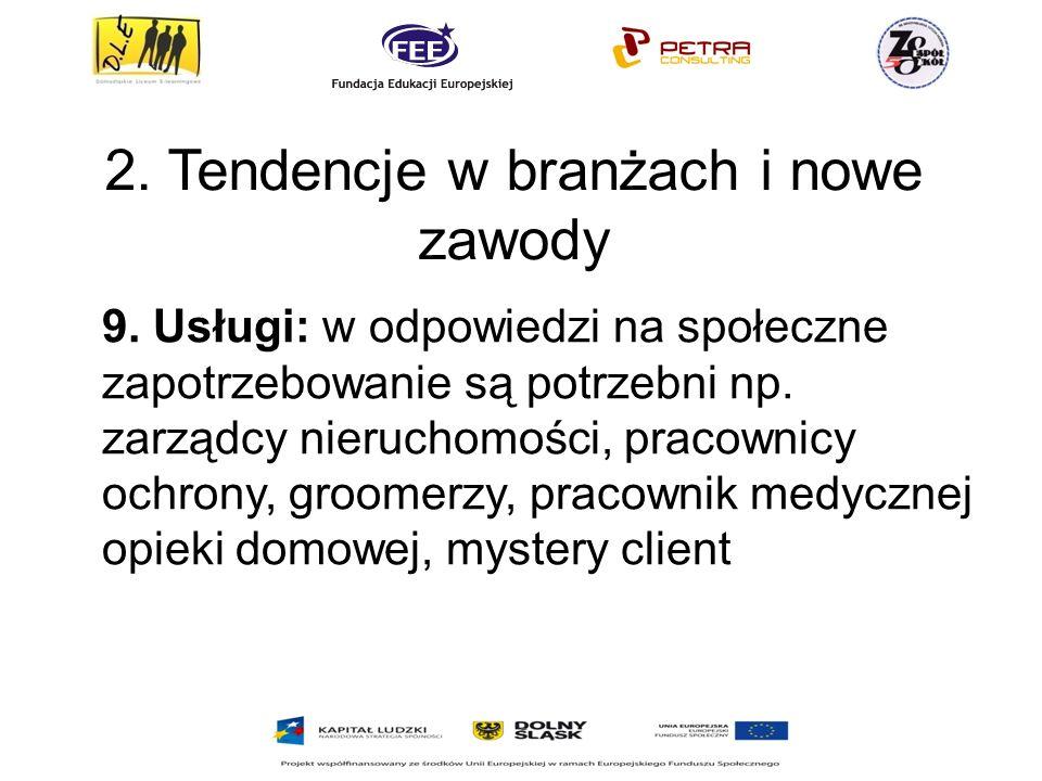 2.Tendencje w branżach i nowe zawody 9.