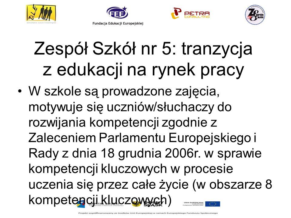 Zespół Szkół nr 5: tranzycja z edukacji na rynek pracy W szkole są prowadzone zajęcia, motywuje się uczniów/słuchaczy do rozwijania kompetencji zgodnie z Zaleceniem Parlamentu Europejskiego i Rady z dnia 18 grudnia 2006r.