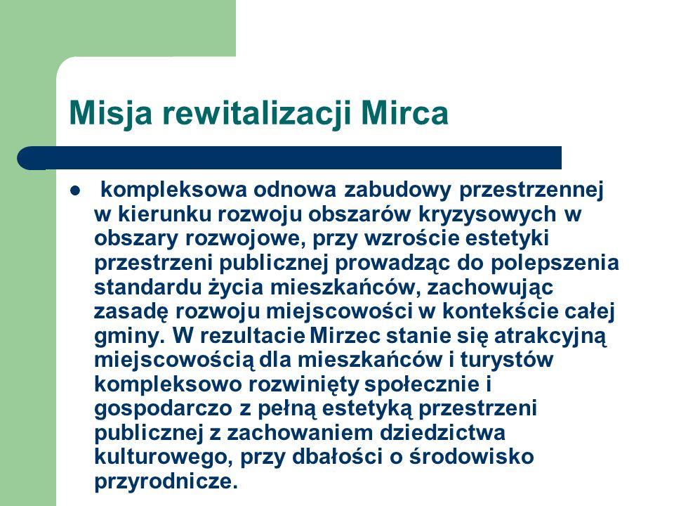 Misja rewitalizacji Mirca kompleksowa odnowa zabudowy przestrzennej w kierunku rozwoju obszarów kryzysowych w obszary rozwojowe, przy wzroście estetyk