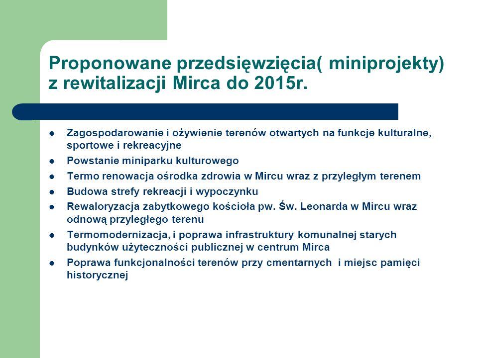 Proponowane przedsięwzięcia( miniprojekty) z rewitalizacji Mirca do 2015r. Zagospodarowanie i ożywienie terenów otwartych na funkcje kulturalne, sport