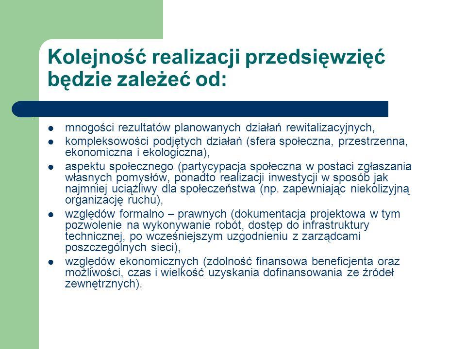 Kolejność realizacji przedsięwzięć będzie zależeć od: mnogości rezultatów planowanych działań rewitalizacyjnych, kompleksowości podjętych działań (sfe