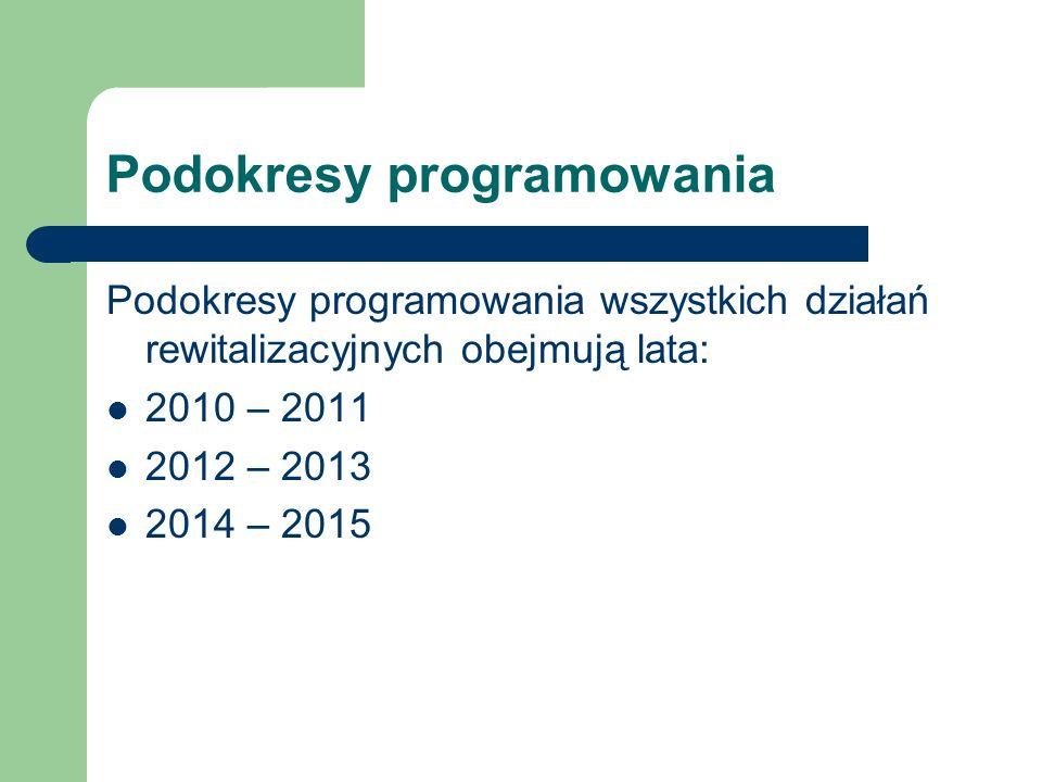 Podokresy programowania Podokresy programowania wszystkich działań rewitalizacyjnych obejmują lata: 2010 – 2011 2012 – 2013 2014 – 2015