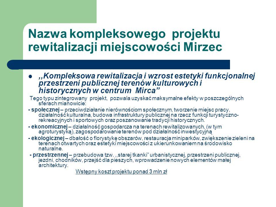 Nazwa kompleksowego projektu rewitalizacji miejscowości Mirzec,,Kompleksowa rewitalizacja i wzrost estetyki funkcjonalnej przestrzeni publicznej teren