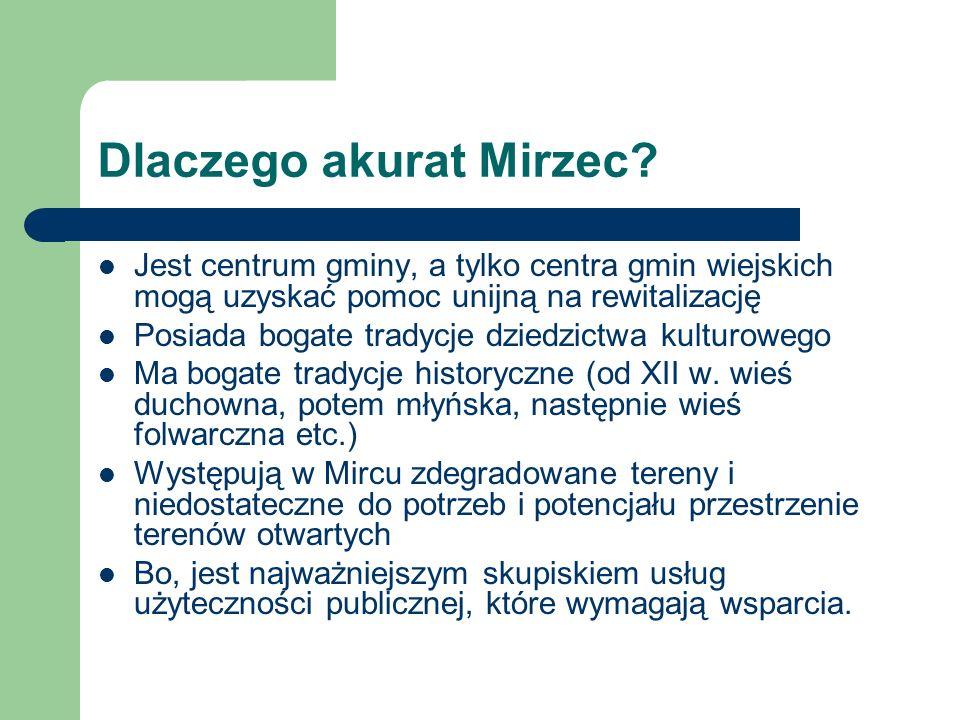 Dlaczego akurat Mirzec? Jest centrum gminy, a tylko centra gmin wiejskich mogą uzyskać pomoc unijną na rewitalizację Posiada bogate tradycje dziedzict