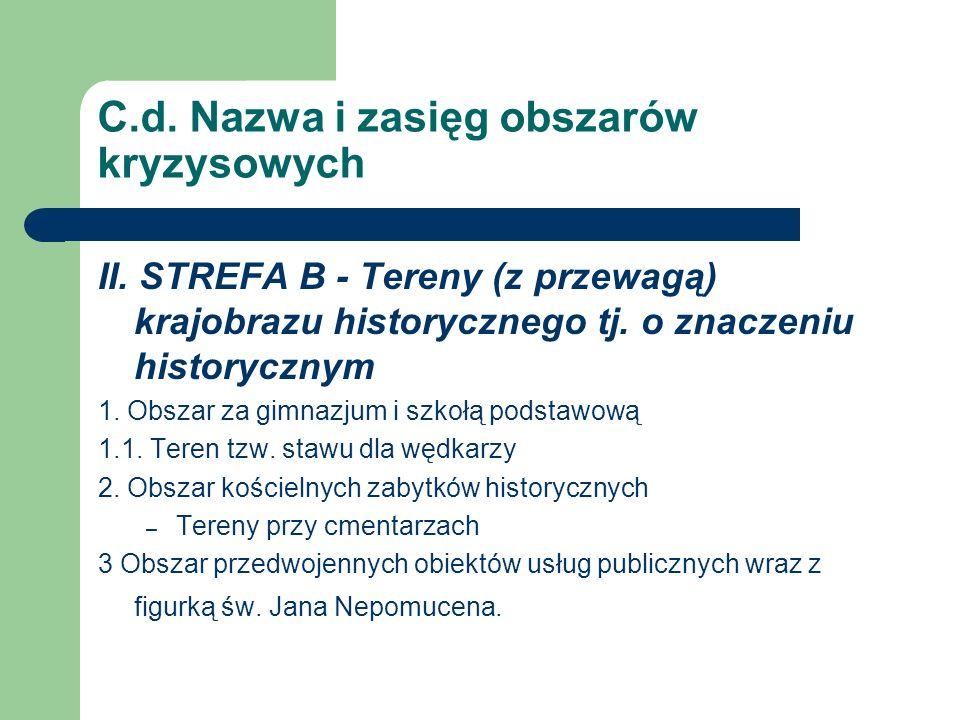 C.d. Nazwa i zasięg obszarów kryzysowych II. STREFA B - Tereny (z przewagą) krajobrazu historycznego tj. o znaczeniu historycznym 1. Obszar za gimnazj