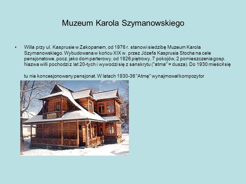 Dom Jana Kasprowicza Piętrowa willa wybudowana w 1920 na wysokim brzegu Zakopianki przez Jana Klusia Fudalę, wkrótce potem kupiona przez angielską malarkę Winnifred Cooper.