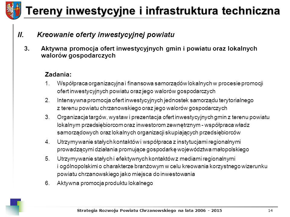 Strategia Rozwoju Powiatu Chrzanowskiego na lata 2006 - 201514 Tereny inwestycyjne i infrastruktura techniczna 3.Aktywna promocja ofert inwestycyjnych