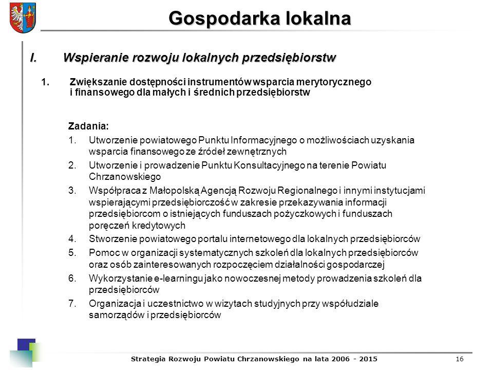 Strategia Rozwoju Powiatu Chrzanowskiego na lata 2006 - 201516 Gospodarka lokalna 1.Zwiększanie dostępności instrumentów wsparcia merytorycznego i fin
