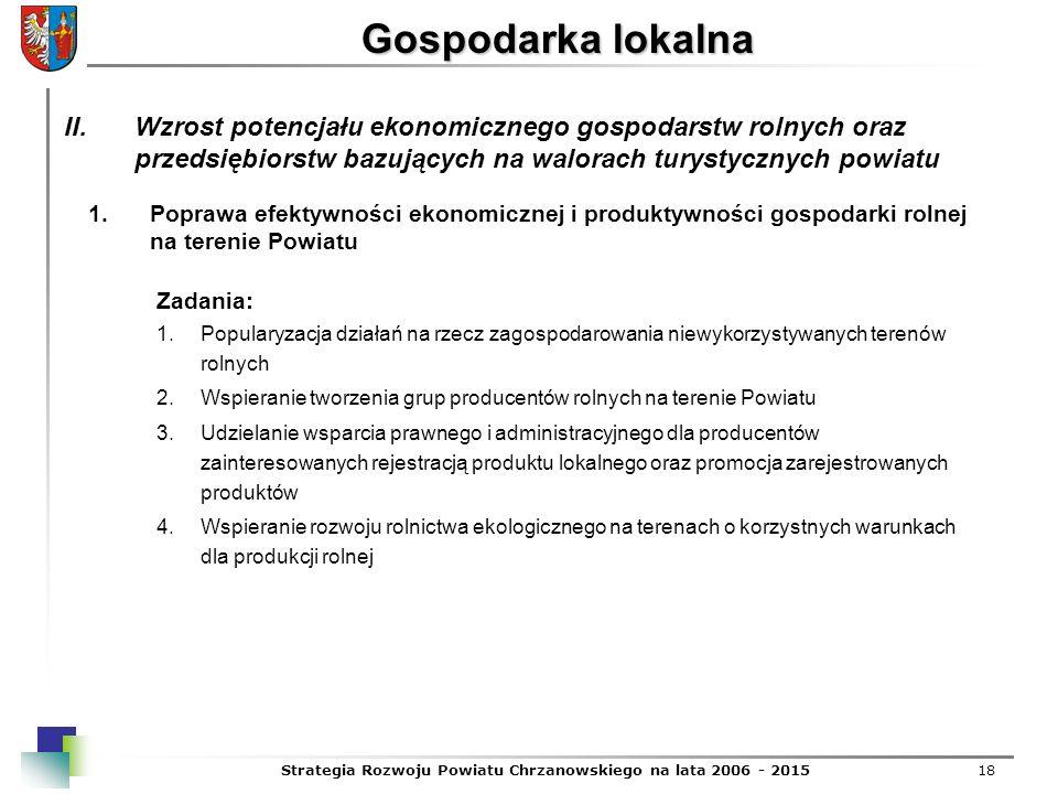 Strategia Rozwoju Powiatu Chrzanowskiego na lata 2006 - 201518 Gospodarka lokalna 1.Poprawa efektywności ekonomicznej i produktywności gospodarki roln