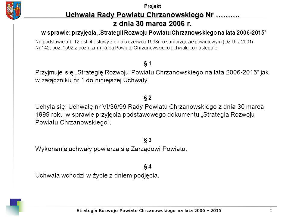 2 Projekt Uchwała Rady Powiatu Chrzanowskiego Nr ………. z dnia 30 marca 2006 r. w sprawie: przyjęcia Strategii Rozwoju Powiatu Chrzanowskiego na lata 20