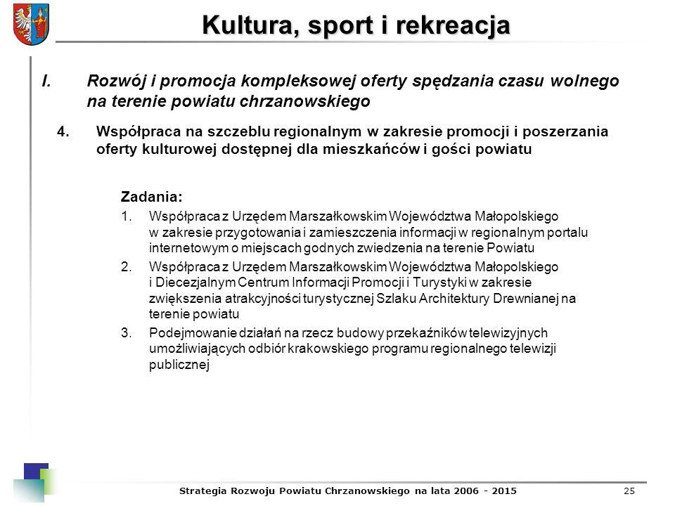 Strategia Rozwoju Powiatu Chrzanowskiego na lata 2006 - 201525 Kultura, sport i rekreacja 4.Współpraca na szczeblu regionalnym w zakresie promocji i p