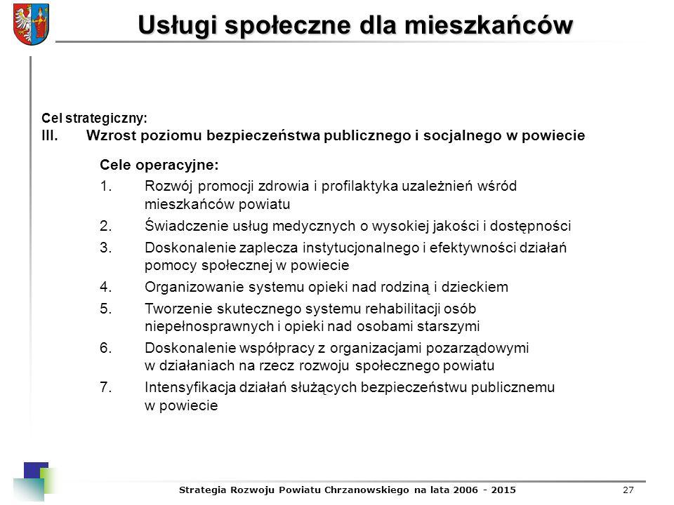 Strategia Rozwoju Powiatu Chrzanowskiego na lata 2006 - 201527 Usługi społeczne dla mieszkańców Cel strategiczny: III.Wzrost poziomu bezpieczeństwa pu
