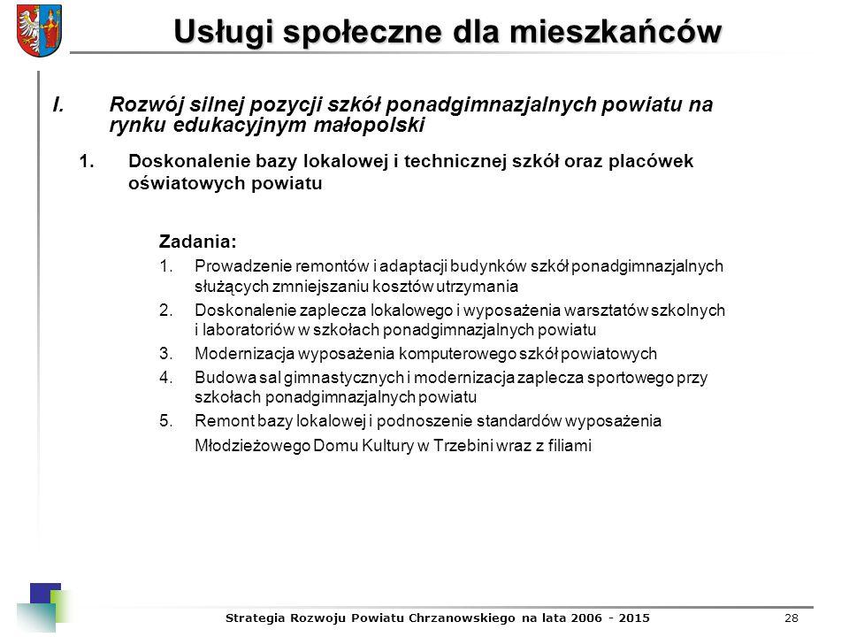 Strategia Rozwoju Powiatu Chrzanowskiego na lata 2006 - 201528 Usługi społeczne dla mieszkańców 1.Doskonalenie bazy lokalowej i technicznej szkół oraz