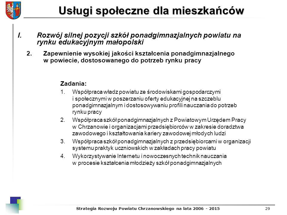 Strategia Rozwoju Powiatu Chrzanowskiego na lata 2006 - 201529 Usługi społeczne dla mieszkańców 2.Zapewnienie wysokiej jakości kształcenia ponadgimnaz