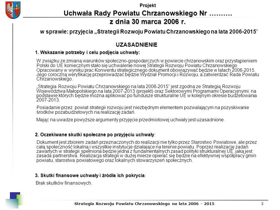 Strategia Rozwoju Powiatu Chrzanowskiego na lata 2006 - 20153 1. Wskazanie potrzeby i celu podjęcia uchwały: 1. Wskazanie potrzeby i celu podjęcia uch