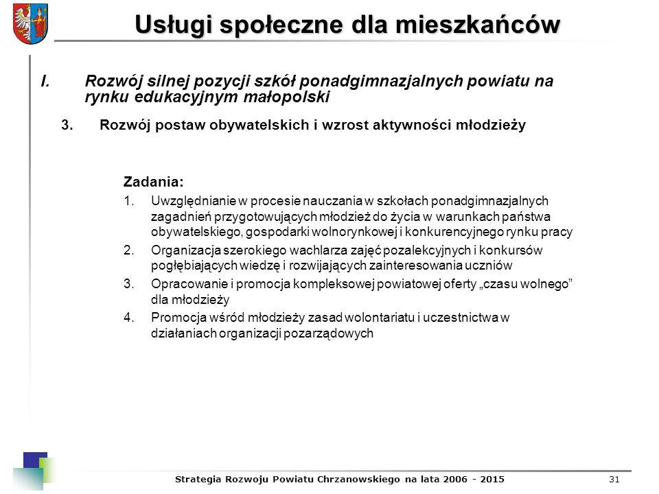 Strategia Rozwoju Powiatu Chrzanowskiego na lata 2006 - 201531 Usługi społeczne dla mieszkańców 3.Rozwój postaw obywatelskich i wzrost aktywności młod