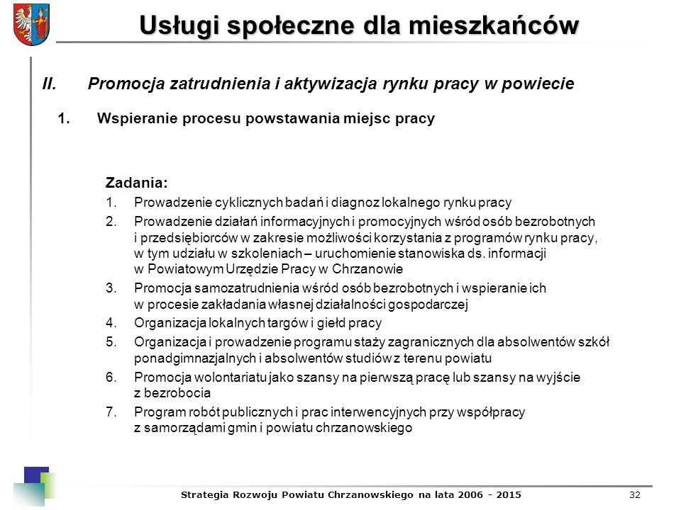 Strategia Rozwoju Powiatu Chrzanowskiego na lata 2006 - 201532 Usługi społeczne dla mieszkańców 1.Wspieranie procesu powstawania miejsc pracy Zadania: