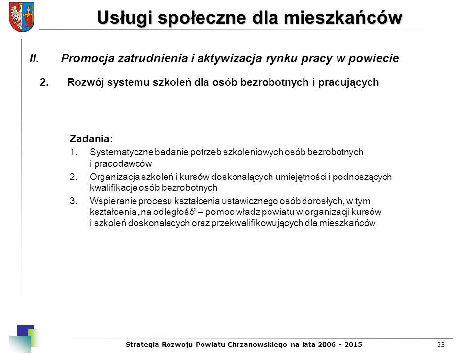 Strategia Rozwoju Powiatu Chrzanowskiego na lata 2006 - 201533 Usługi społeczne dla mieszkańców 2.Rozwój systemu szkoleń dla osób bezrobotnych i pracu