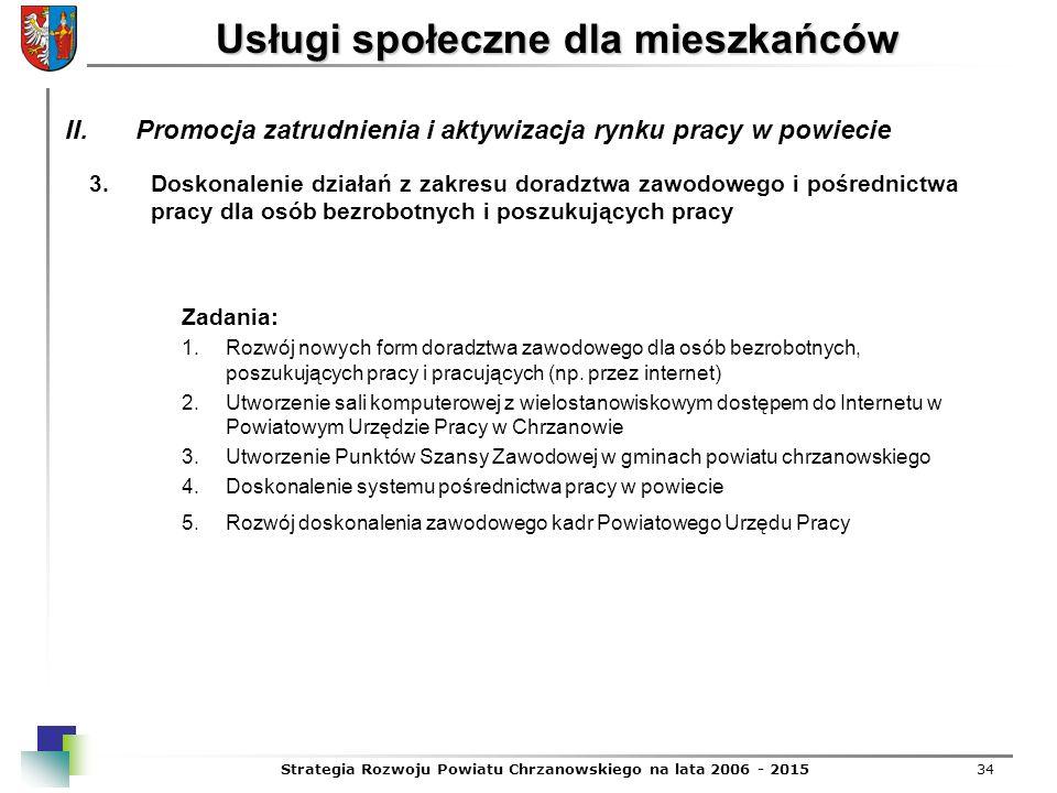 Strategia Rozwoju Powiatu Chrzanowskiego na lata 2006 - 201534 Usługi społeczne dla mieszkańców 3.Doskonalenie działań z zakresu doradztwa zawodowego