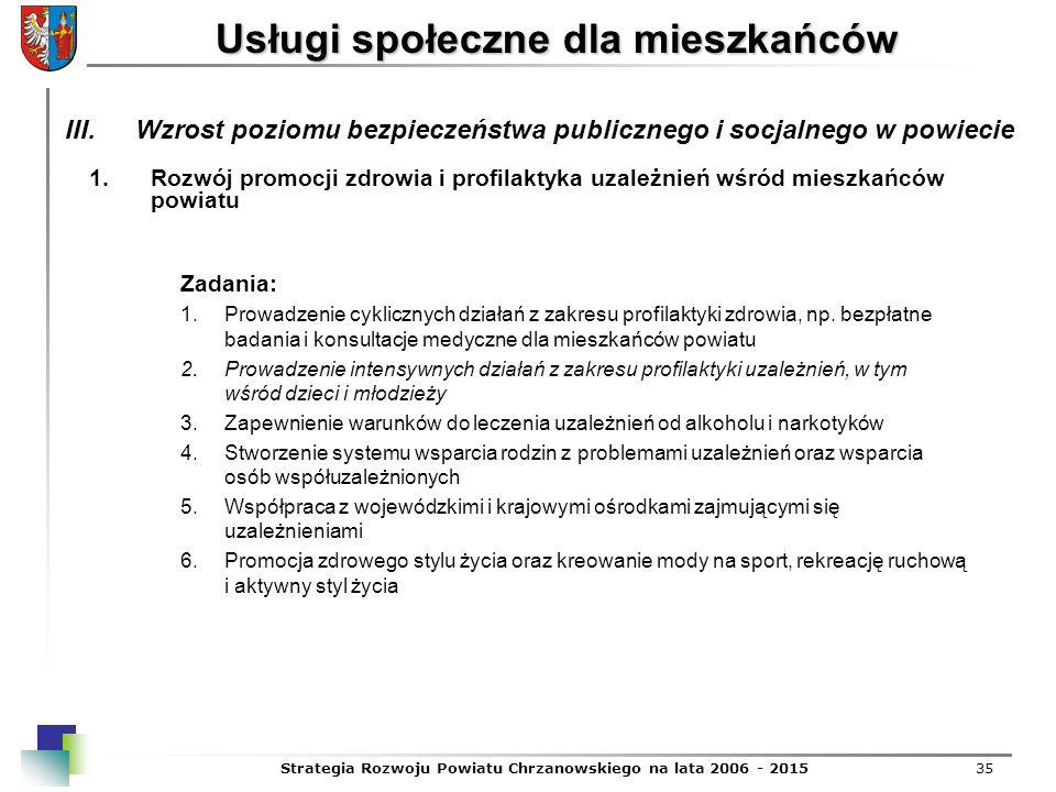 Strategia Rozwoju Powiatu Chrzanowskiego na lata 2006 - 201535 Usługi społeczne dla mieszkańców 1.Rozwój promocji zdrowia i profilaktyka uzależnień wś
