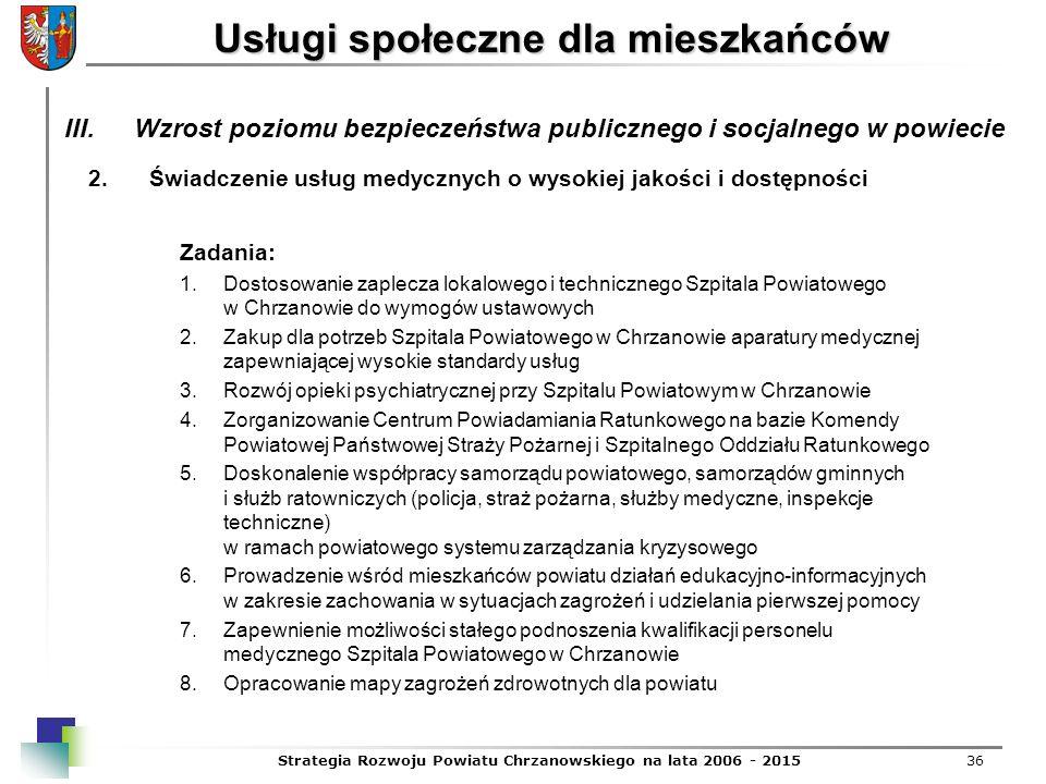Strategia Rozwoju Powiatu Chrzanowskiego na lata 2006 - 201536 Usługi społeczne dla mieszkańców 2.Świadczenie usług medycznych o wysokiej jakości i do