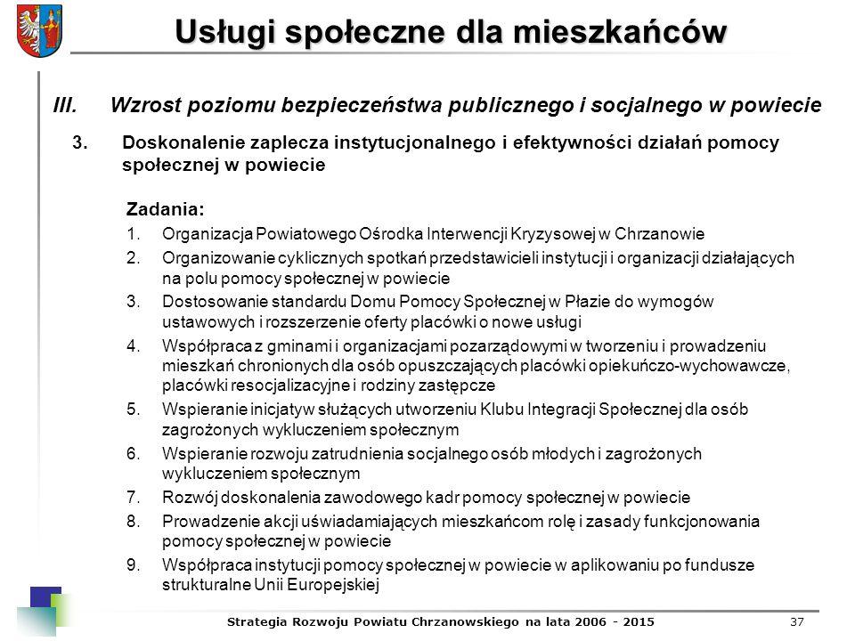 Strategia Rozwoju Powiatu Chrzanowskiego na lata 2006 - 201537 Usługi społeczne dla mieszkańców 3.Doskonalenie zaplecza instytucjonalnego i efektywnoś