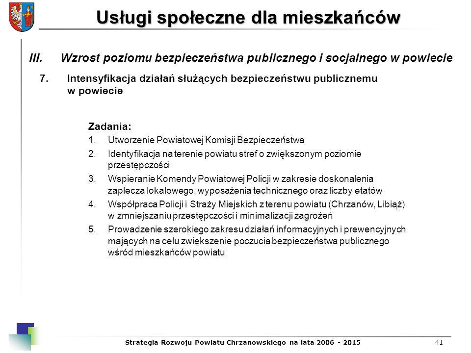 Strategia Rozwoju Powiatu Chrzanowskiego na lata 2006 - 201541 Usługi społeczne dla mieszkańców 7.Intensyfikacja działań służących bezpieczeństwu publ