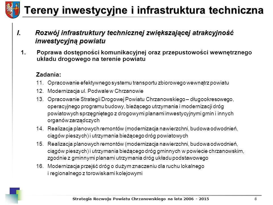 Strategia Rozwoju Powiatu Chrzanowskiego na lata 2006 - 20158 Tereny inwestycyjne i infrastruktura techniczna Zadania: 11.Opracowanie efektywnego syst